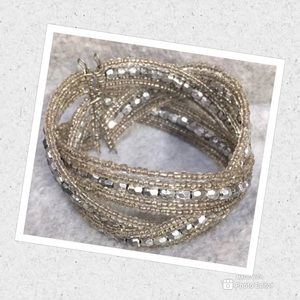 Jewelry - WOVEN CUFF SILVER TONE BRACELET BEADED VINTAGE